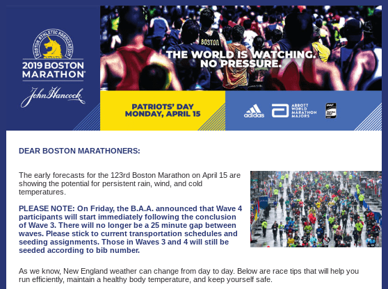 Weather warning from Boston Marathon 2019 race organisers predicting rain, wind and cold temperatures