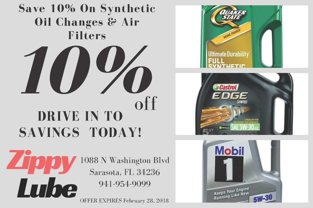 Zippy Lube Sarasota Web oil change coupon