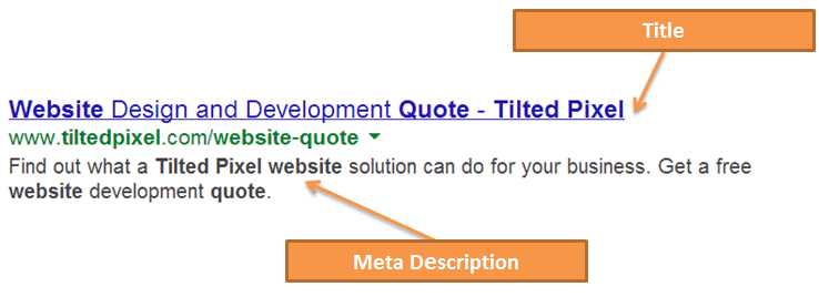 Meta title and meta description displayed on search engines