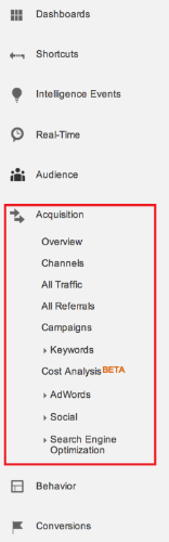 Google Analytics acquisition side menu
