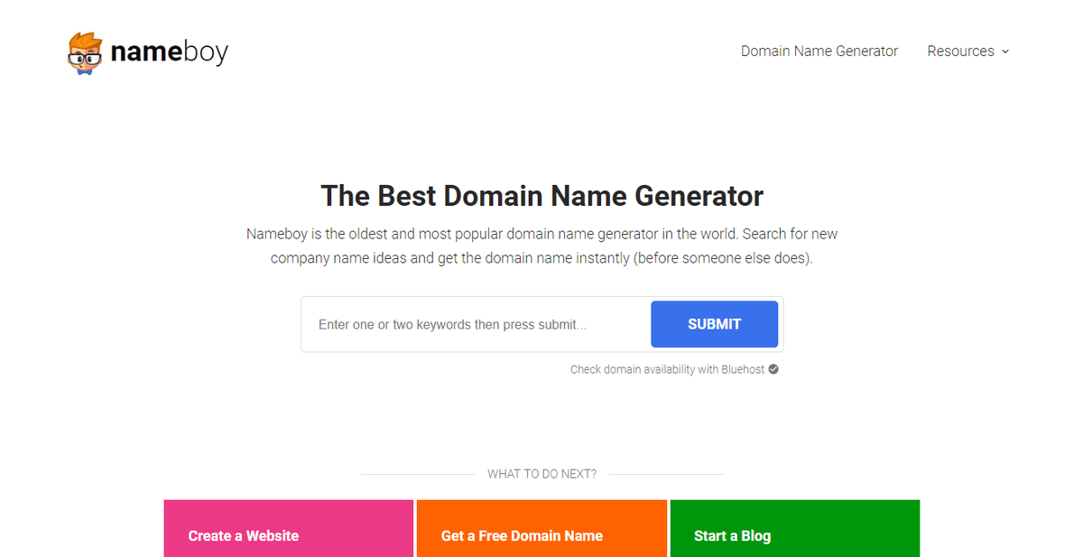 Find the perfect domain name at nameboy.com