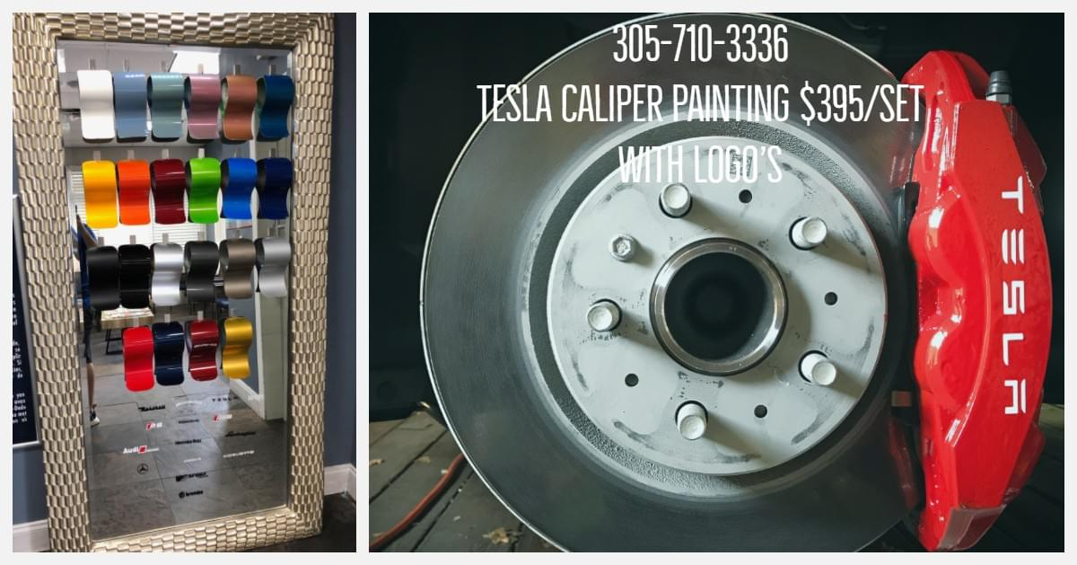 Tesla Model 3 Calipers painted Maimi, Tesla brake caliper painting Miami, Tesla Model X caliper painting Miami