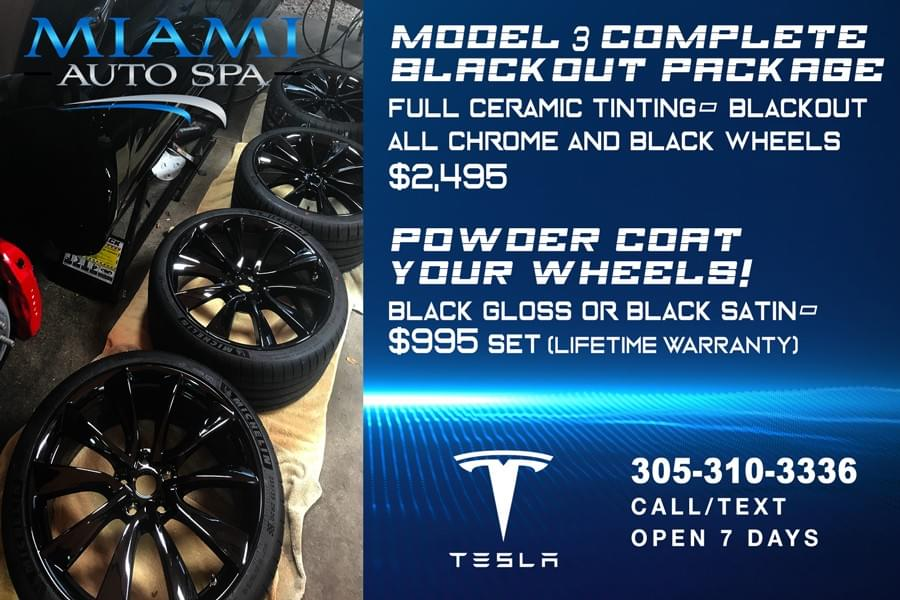 Blackout car packages, Custom blackout packages for Tesla in Miami, Tesla chrome delete Miami