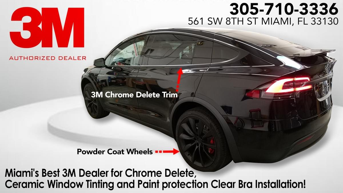 Tesla X Chrome Delete Miami, Tesla X Black-out Miami, Tesla 3 Chrome Delete Miami, Tesla 3 Black-out Miami, Tesla S Chrome Delete Miami, Tesla S Black-out Miami