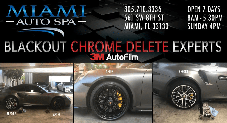 Porsche Chrome delete Miami, Porsche Brake caliper Painting Miami, Porsche 911 car wraps in Miami 33131