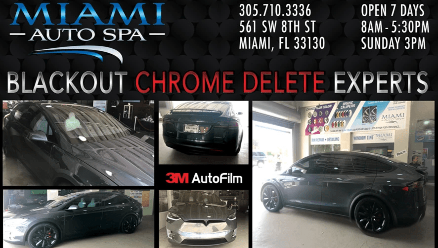 Tesla chrome delete Miami, Tesla black-out wrap cars in Miami