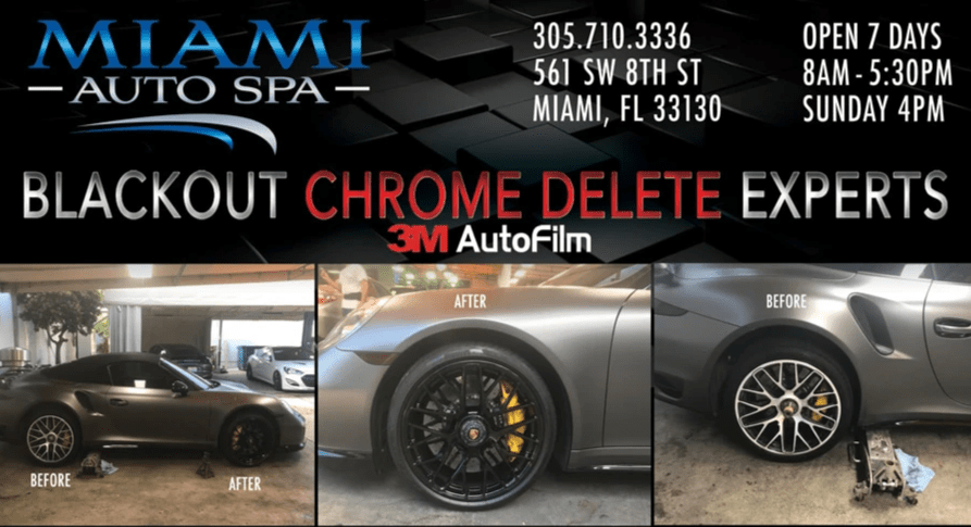 Porsche car black out experts in Miami, Porsche Black wheel painting Miami