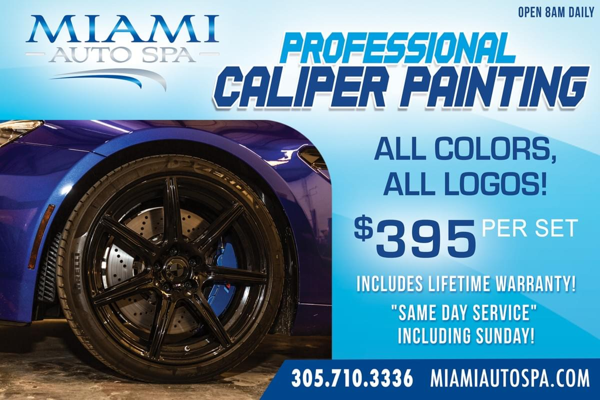brake caliper painting service in Miami for Porsche, Tesla, Mercedes Benz, BMW, Audi, Jaguar, Mclaren, Lamborghini, Ferrari
