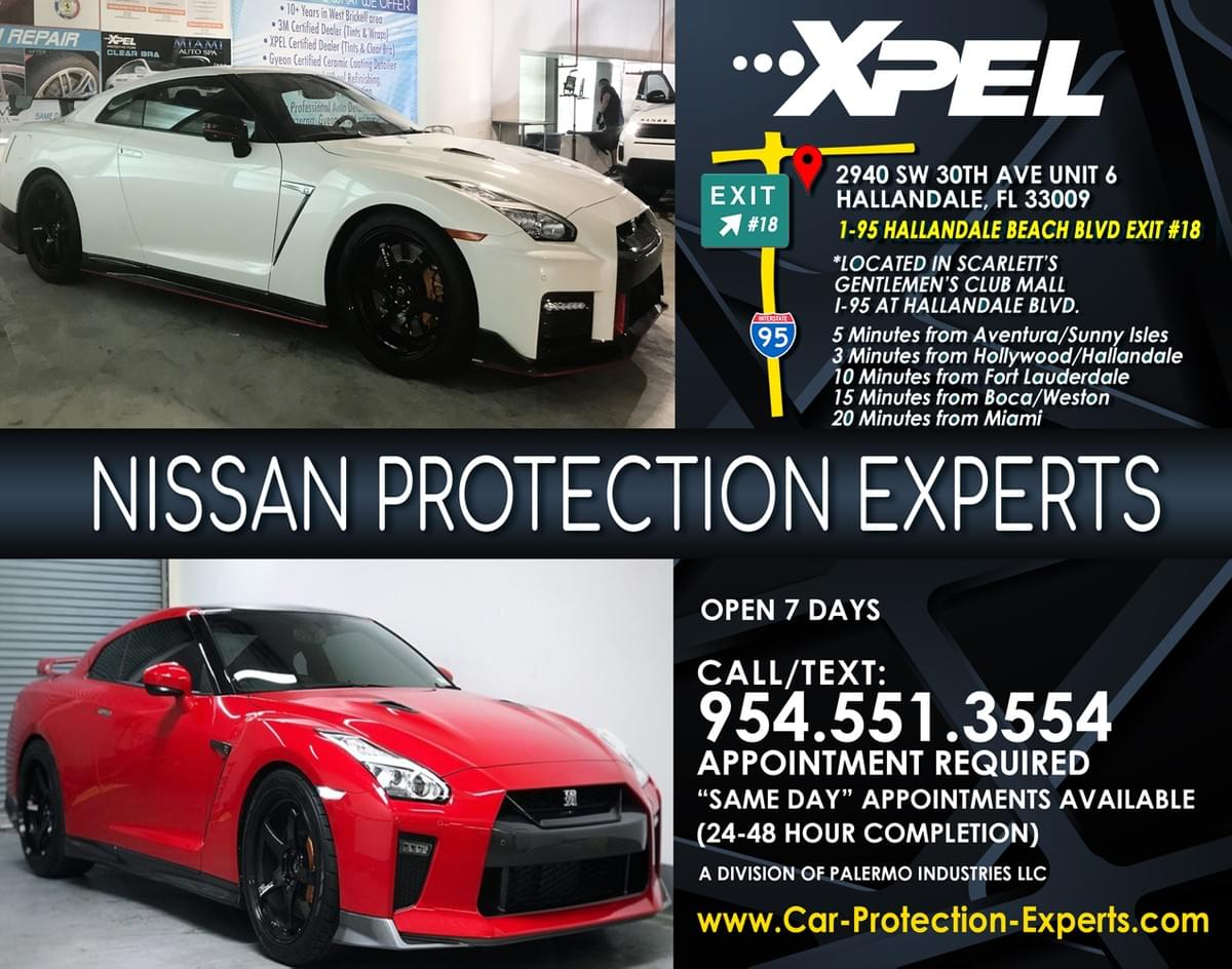 Xpel's Nissan GTR Car Paint Protection Film, Nissan GTR full car wrap Fort Lauderdale, PPF installer for Nissan GTR Fort Lauderdale