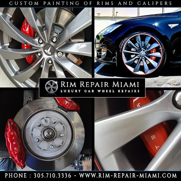 Tesla Brake Caliper painting Miami