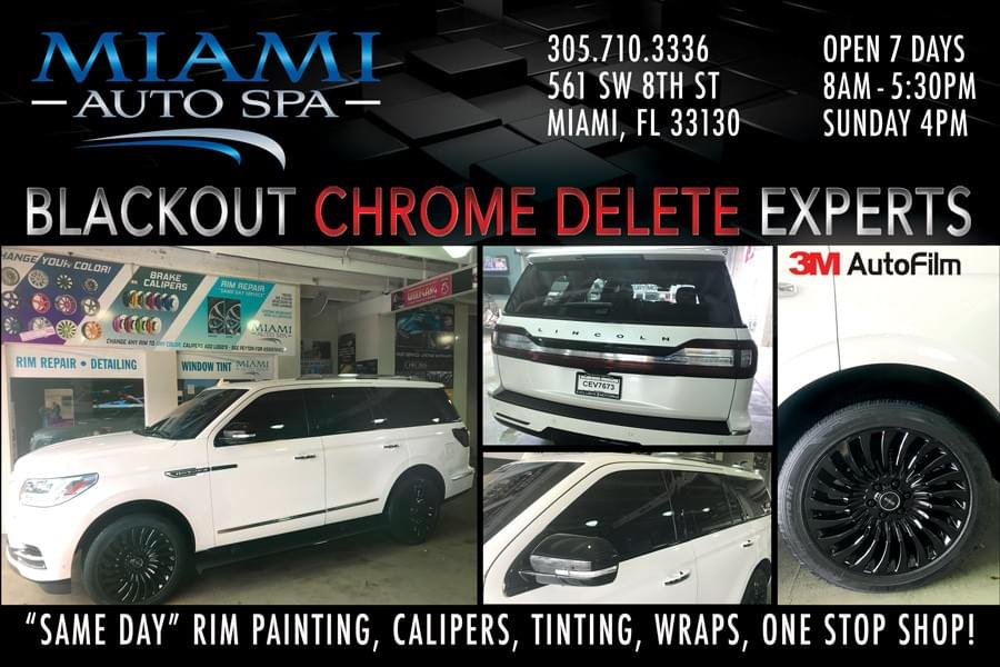 chrome delete wrap cars in Miami, blackout wrap cars in Miami