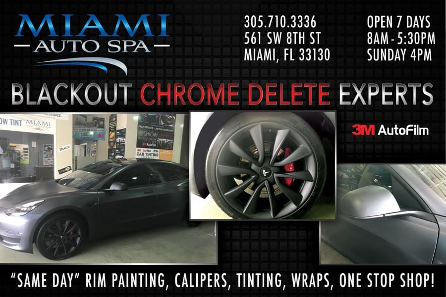 Tesla Chrome delete Miami, Tesla Brake caliper Painting Miami, Tesla model 3 car wraps in Miami 33131