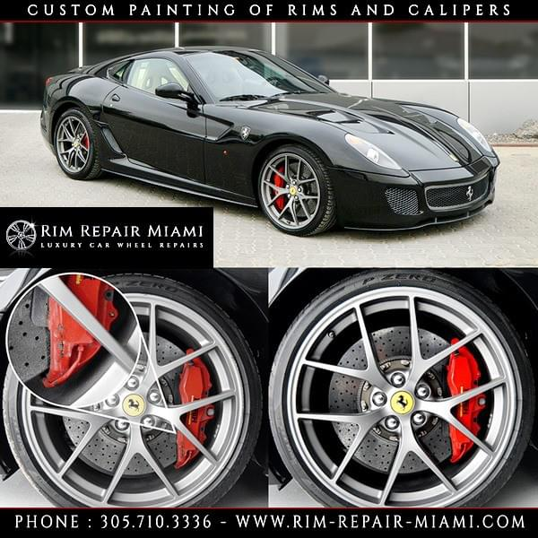 Ferrari Rim repair Miami, Ferrari Wheel repair Miami, Ferrari Curb Rash repair Miami, Ferrari paint wheels Miami, Ferrari paint rims Miami, Ferrari customize wheels Miami, Ferrari Caliper painting Miami, Ferrari custom finish wheels Miami