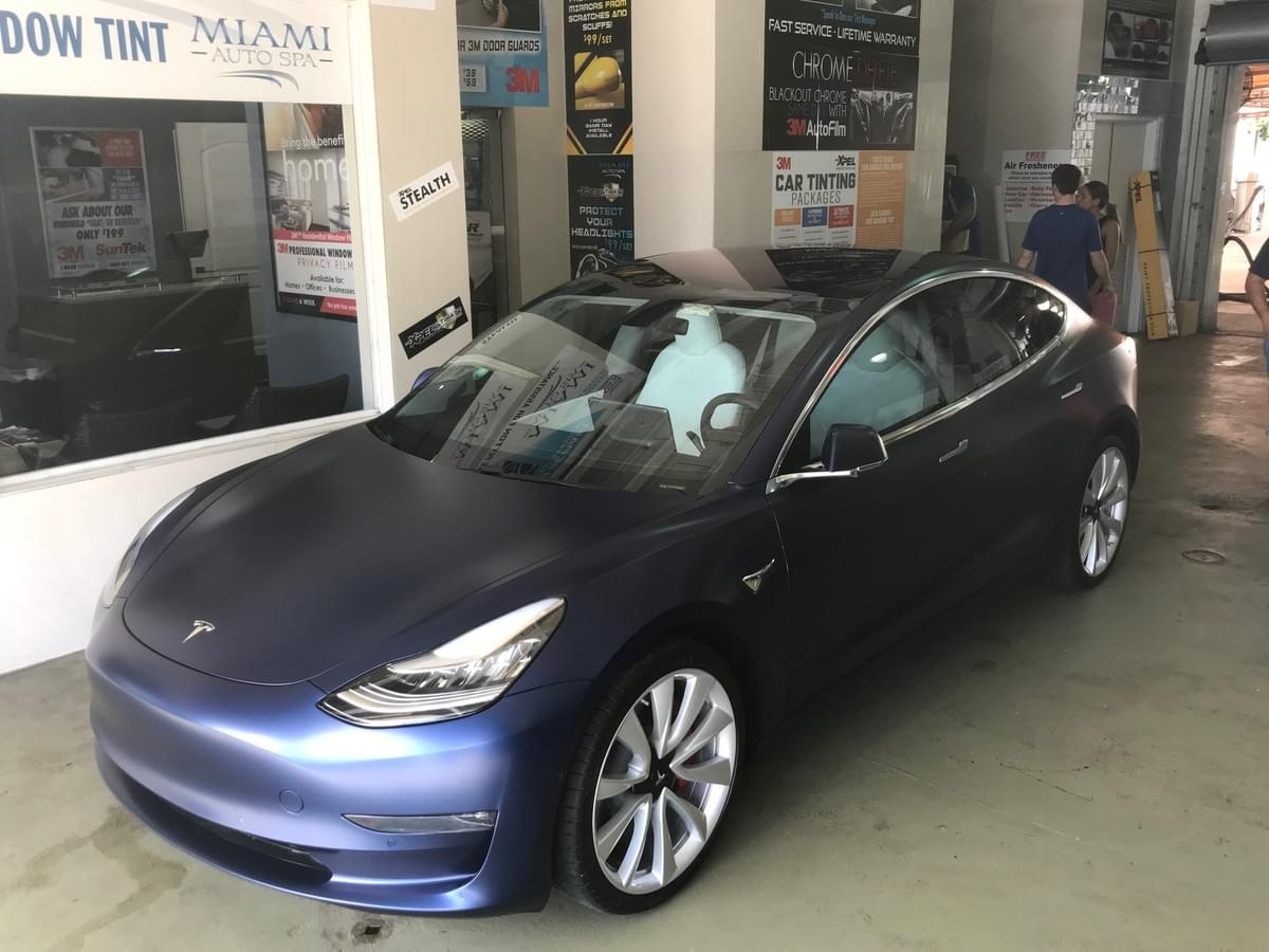 Tesla car wrap in Miami, Tesla Matte Wrap in Miami, Wrap my Tesla Xpel Stealth, Clear Bra in Miami