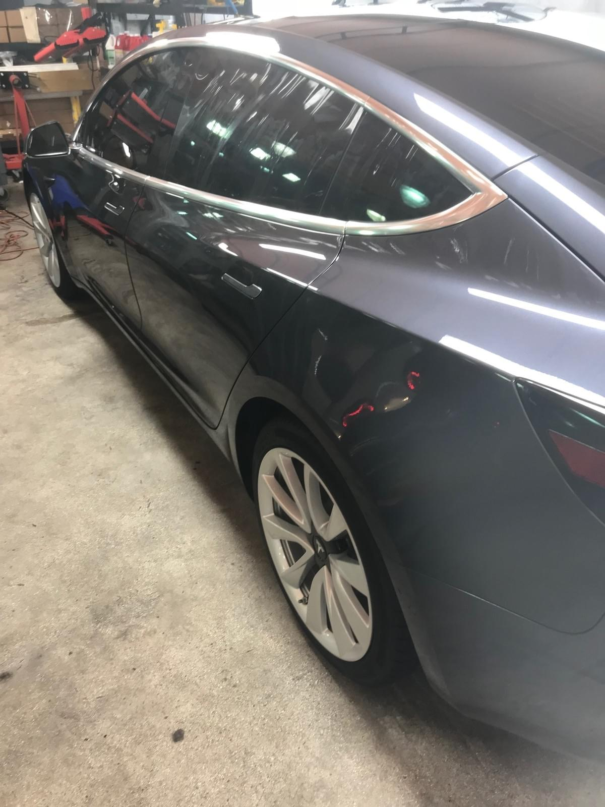 Tesla model 3 window tinting, Tesla model 3 glass tinting, Tesla model 3 chrome delete, Paint Tesla wheels