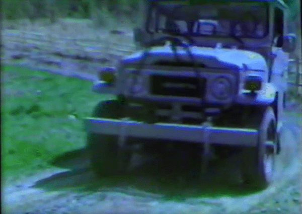 Home video VHS still image of my dad's 1981 Toyota FJ-40 Land Cruiser - first car I ever drove.