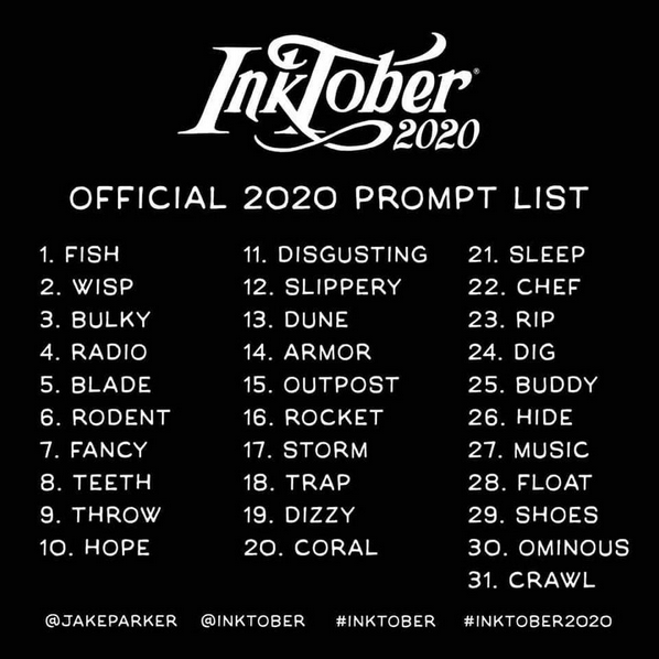 Inktober 2020 Official Prompt list by Jade Parker