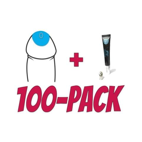 Jiftip 100 Pack with Happy skin lube tube