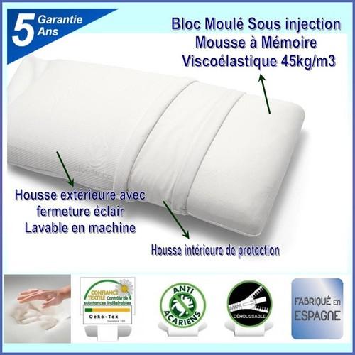 Oreiller Mémoire de Forme 100 % viscoélastique 60 x 40 cm
