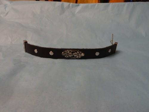 Silver floral leather bracelet