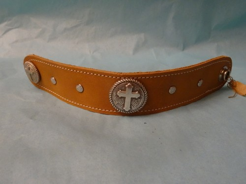 Silver cross concho leather bracelet