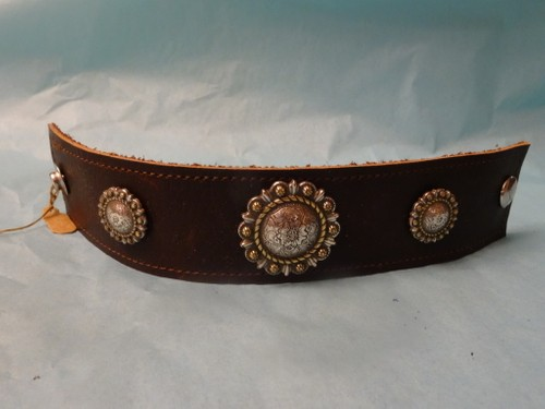Berry concho leather bracelet