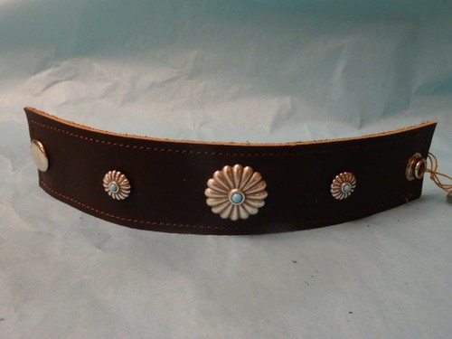 Turquoise and silver concho leather bracelet