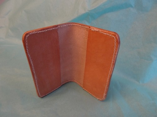 Stamped leather card holder