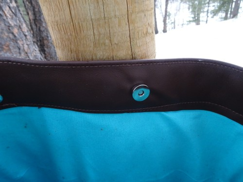 Large leather and fabric tote bag