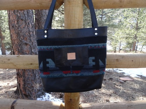 Large fabric and leather tote bag