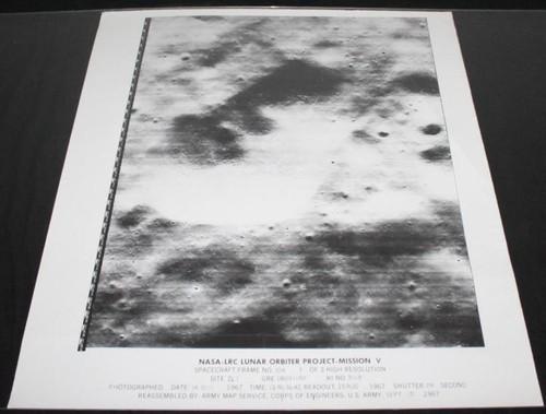 Lunar Orbiter V Moon Surface Photo Map, 1967