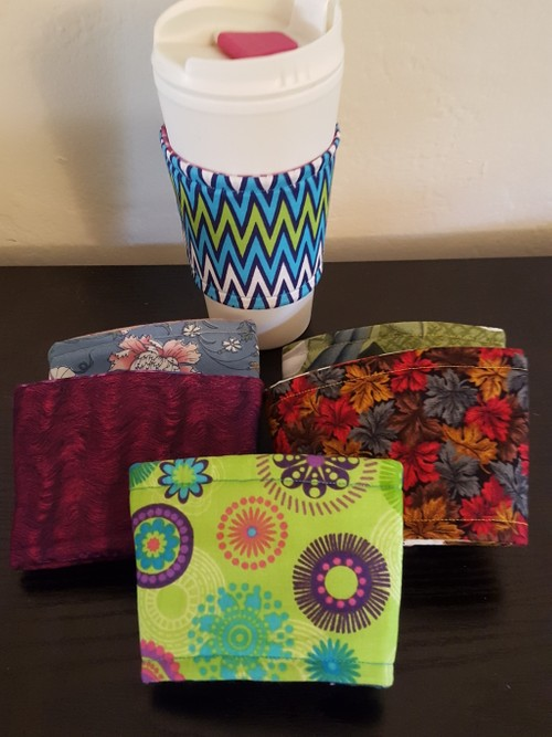 Coffee cup cozies, large, adjust-a-size (12 - 24 oz)
