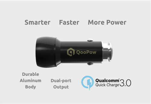 QooPow™ Dual-Port Car Charger, Smart & Super Fast QC3.0, 36W