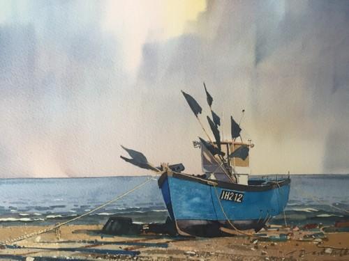 Fishing boat on Aldeburgh beach, Suffolk, UK.