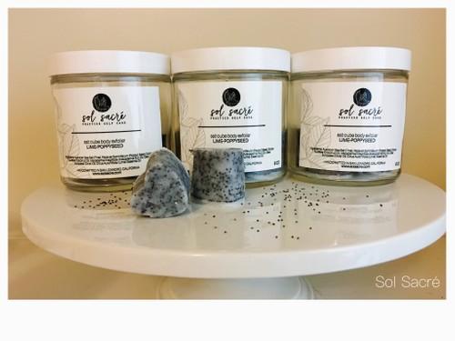 salt cube exfolier:  lime-poppyseed
