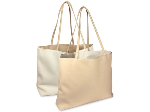 Reversible tote bag - beige/white