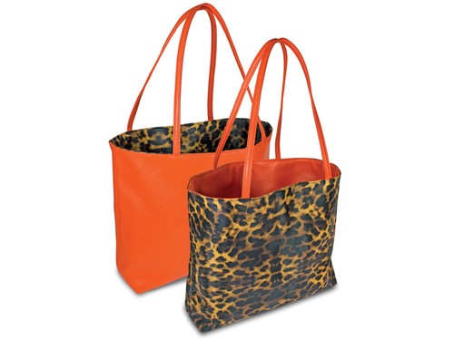 Reversible tote bag - orange/leopard