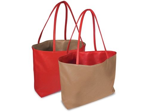 Reversible tote bag - orange/beige
