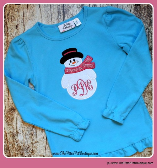 Personalized Snowman Shirt, Onesie or Doll Shirt