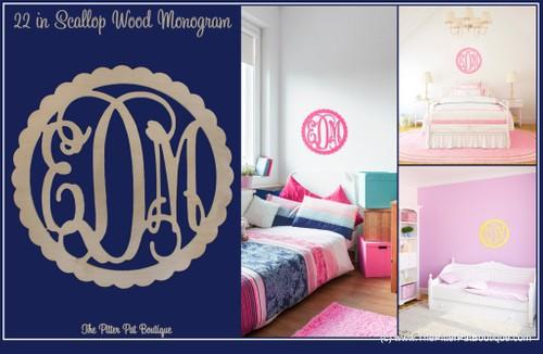 Scallop Wood Monogram