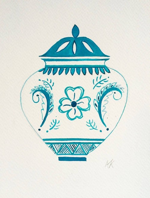 Turquoise Ginger jar with flower, small