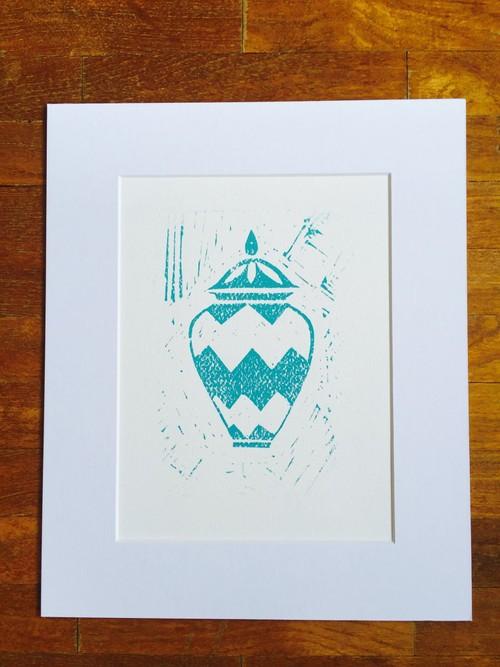 Lino Cut Print : Ginger Jar, turquoise