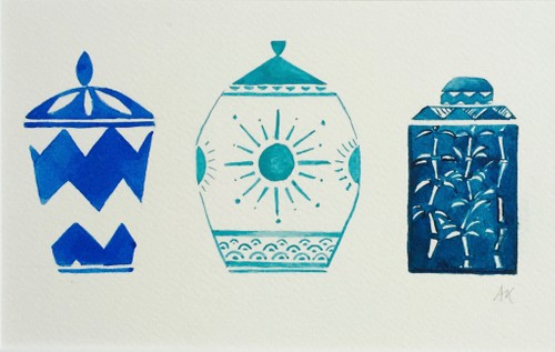 Three Ginger Jars in blue, small
