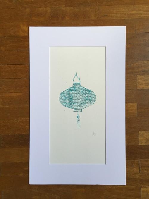 Lino Cut Print Turquoise Lantern :