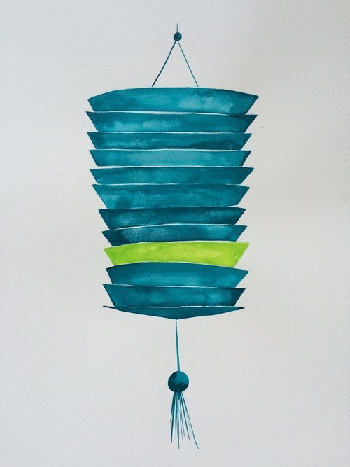 Large slatted lantern with green stripe