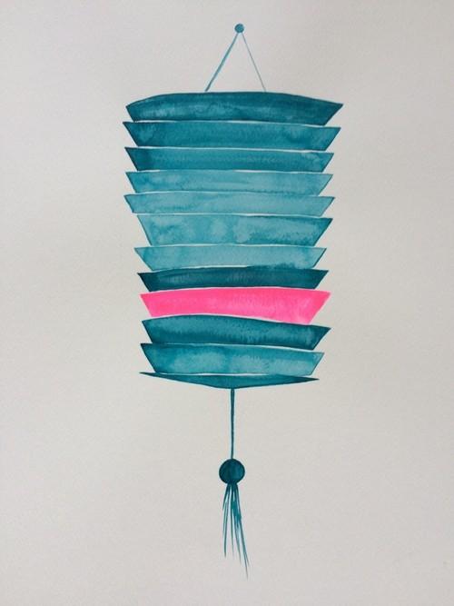Large slatted Lantern with pInk stripe