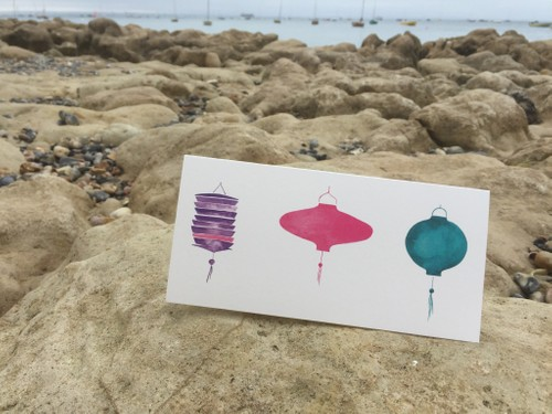 CARD : Lanterns in a row  pink/purple