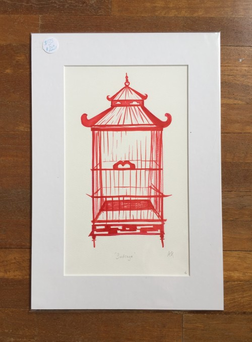 Red birdcage large