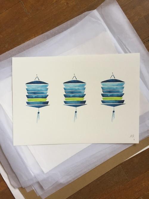 Fine Art Print : Three lanterns in green