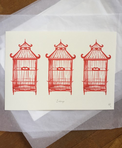Fine Art Print : Birdcages in Red
